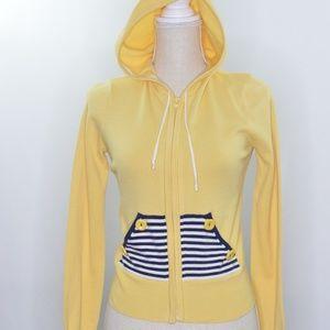 Anthropologie HWR Monogram Yellow Hooded Cardigan